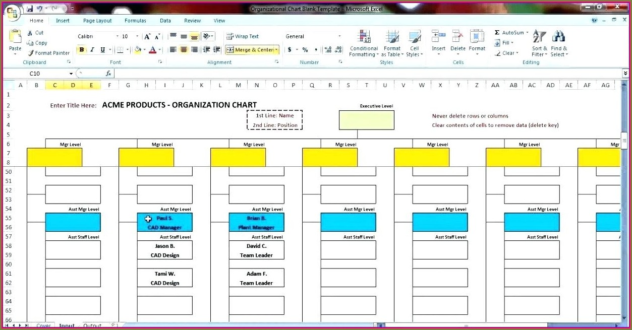 Organization Flow Chart Template Excel