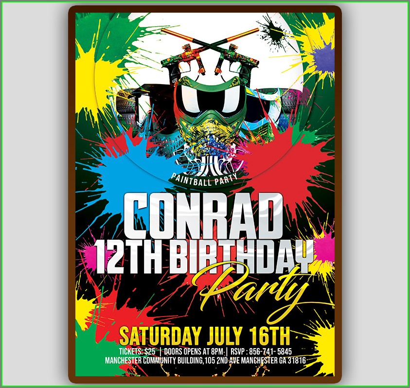 Paintball Birthday Invitation Template