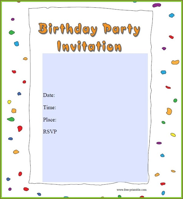 Party Invitation Template Printable