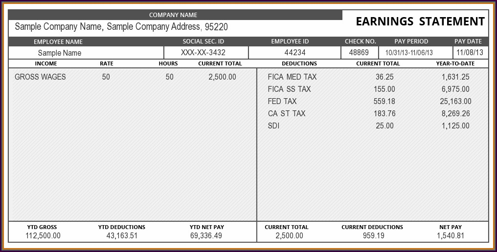 Pay Stub Sample Template