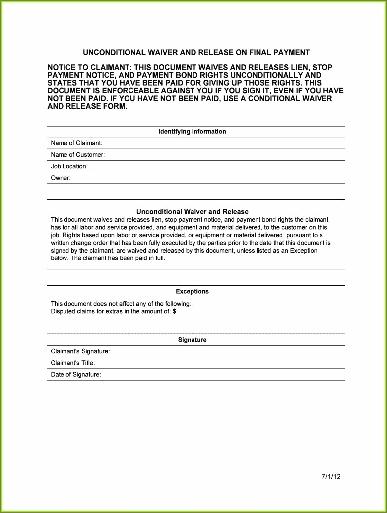 Payment Unconditional Lien Waiver Template