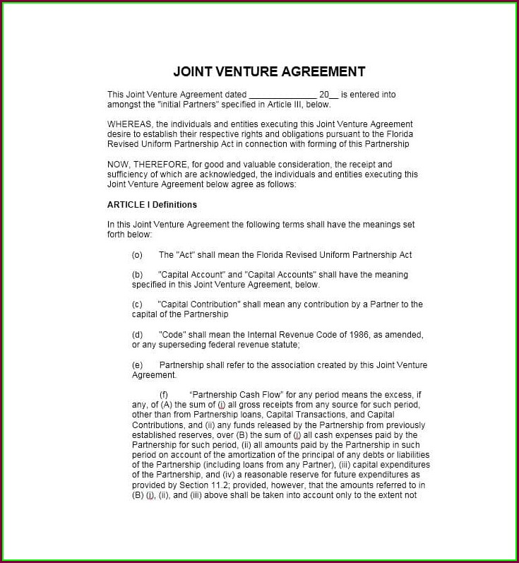 Pdf Simple Joint Venture Agreement Template