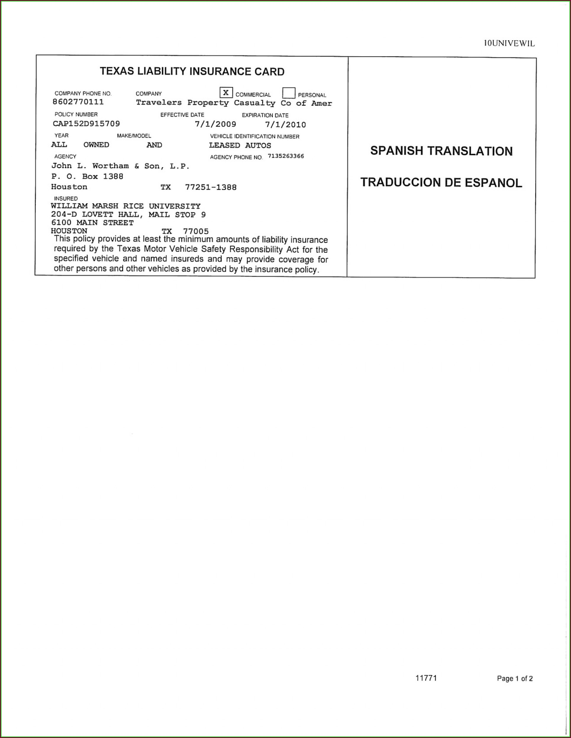 Pdf Texas Auto Insurance Card Template