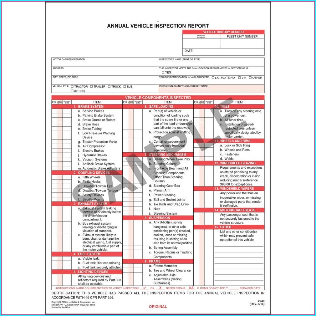 Pdf Vehicle Inspection Report Template