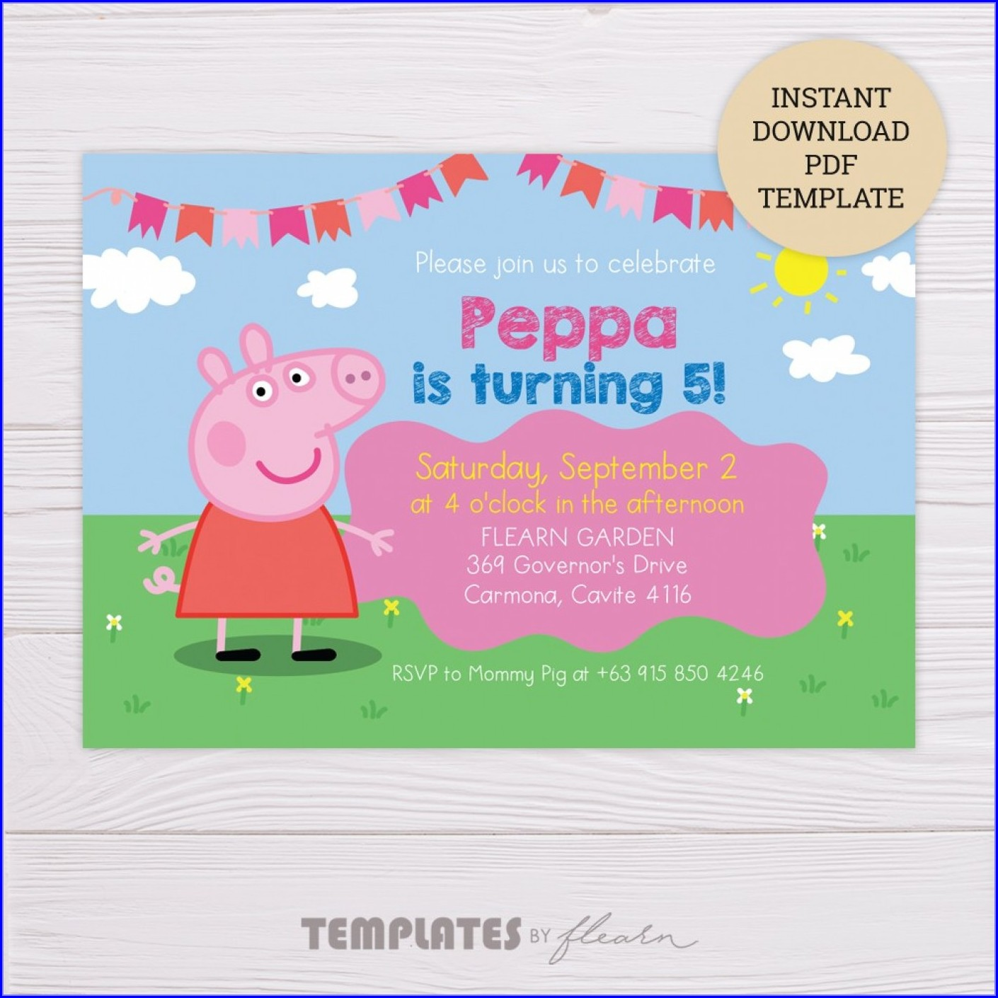 Peppa Pig Birthday Invitation Template Free