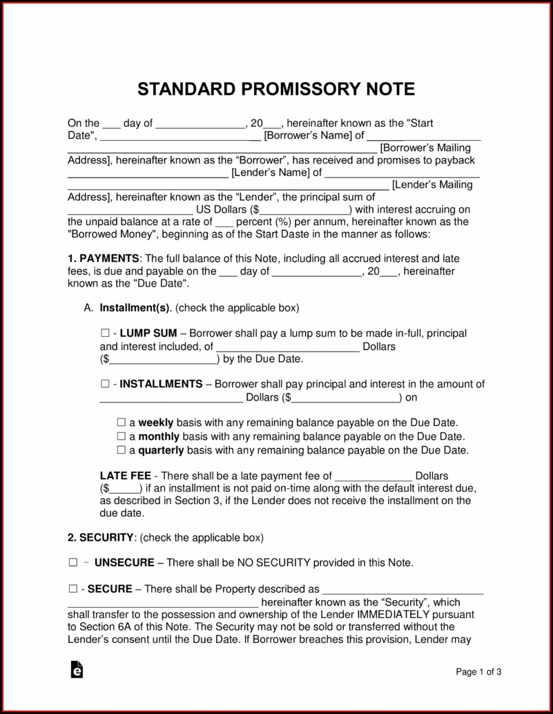 Personal Loan Family Member Promissory Note Template