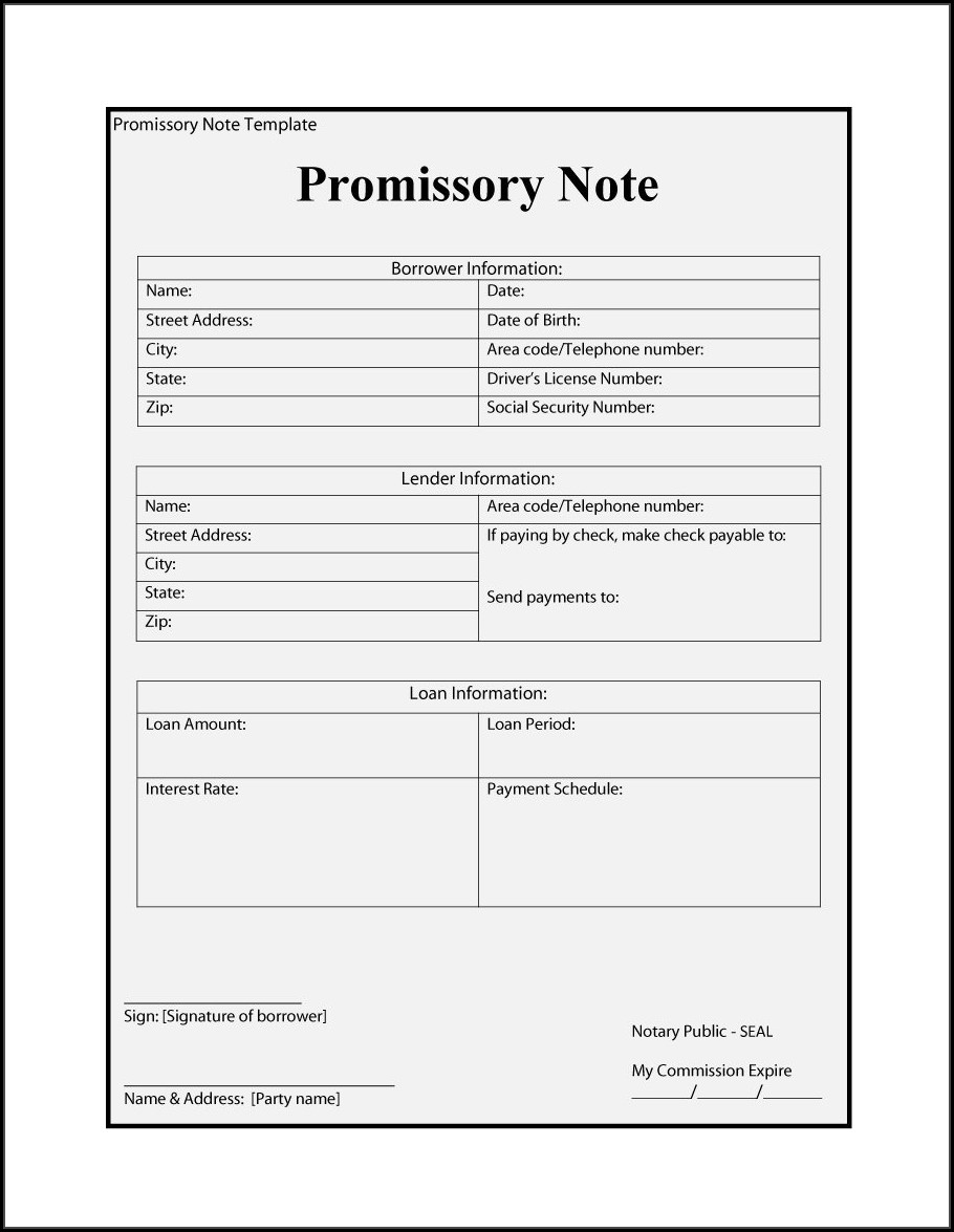 Personal Loan Promissory Note Template Ontario