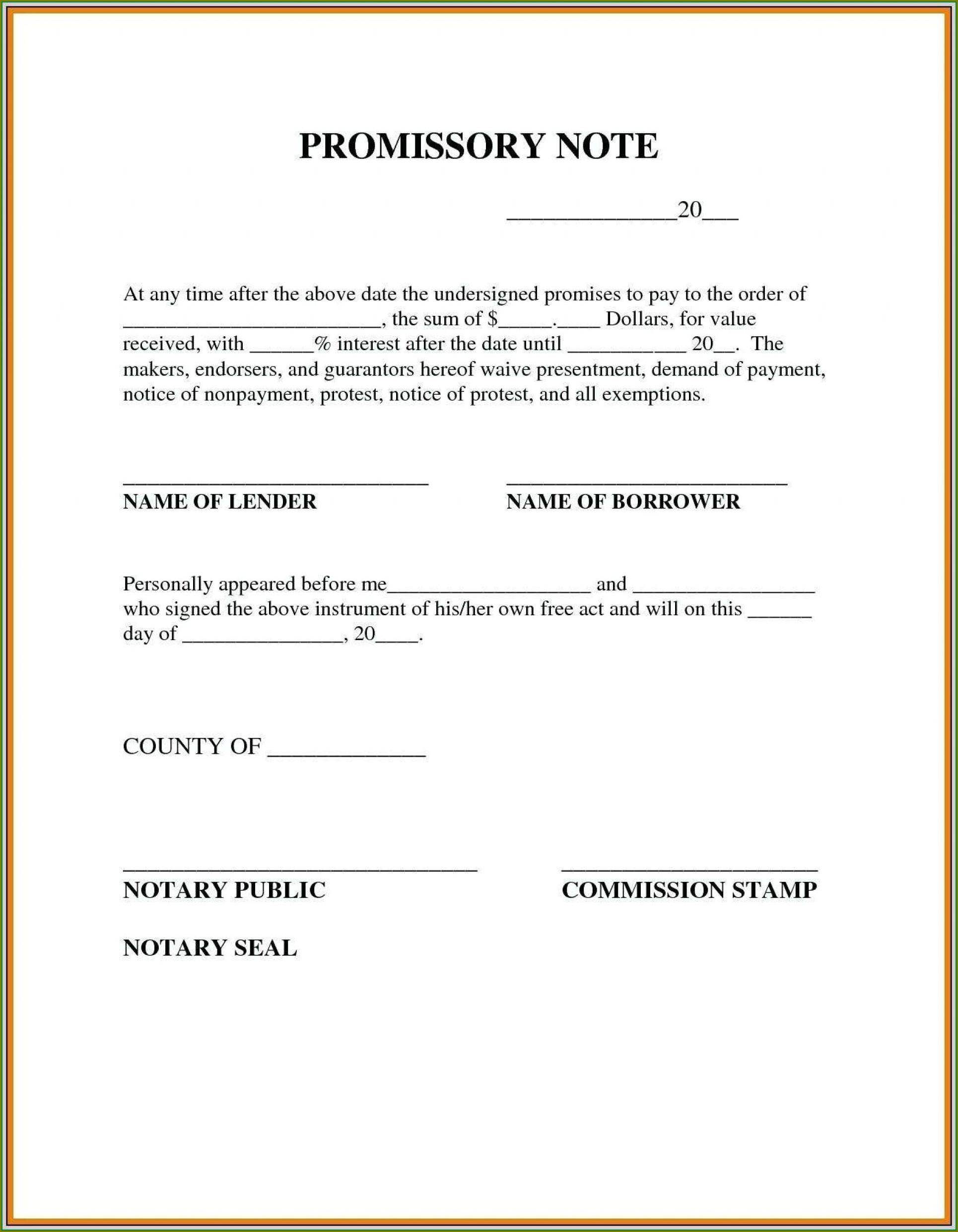 Personal Loan Promissory Note Template Pdf