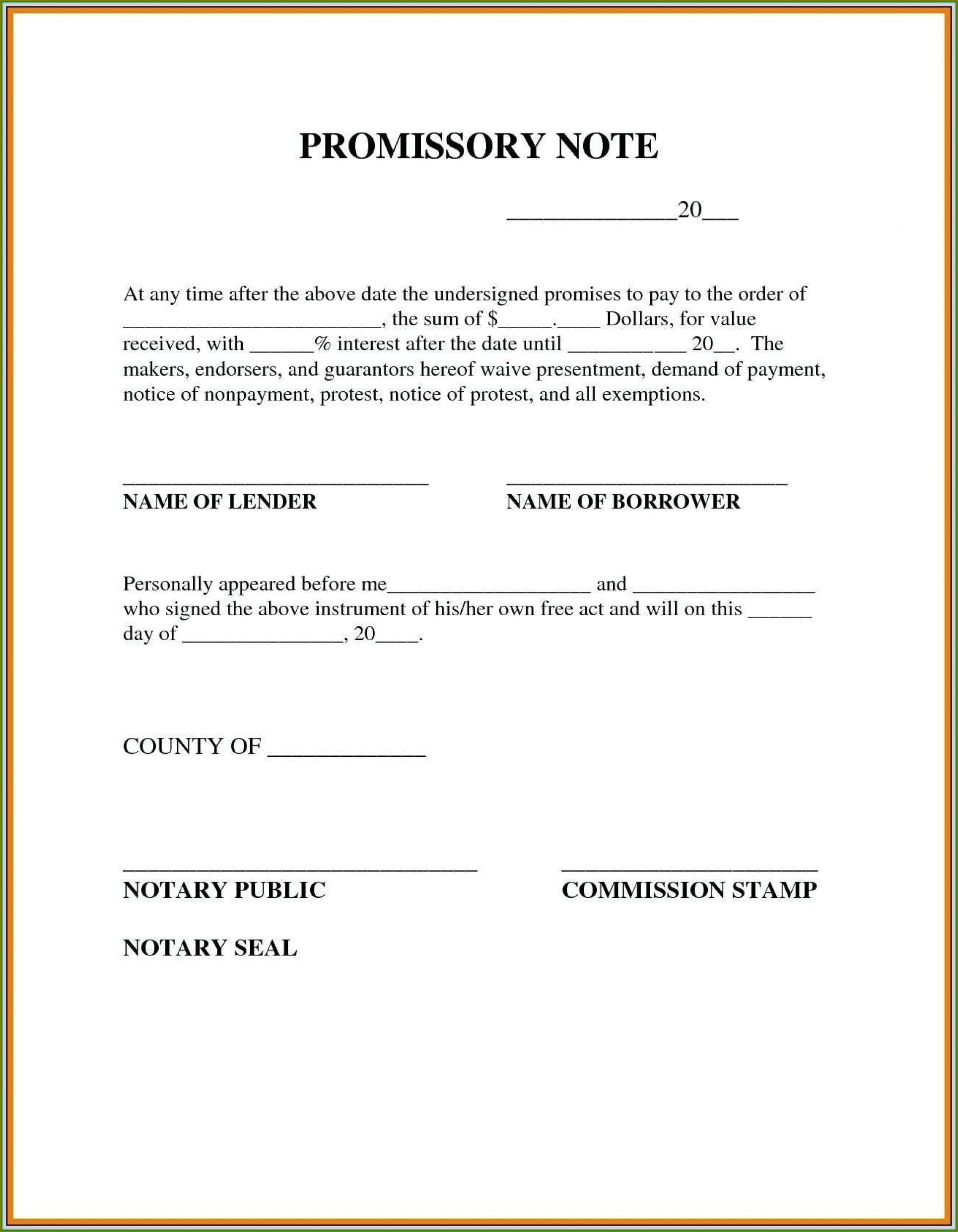Personal Loan Simple Promissory Note Template