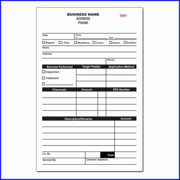 Pest Control Forms Templates