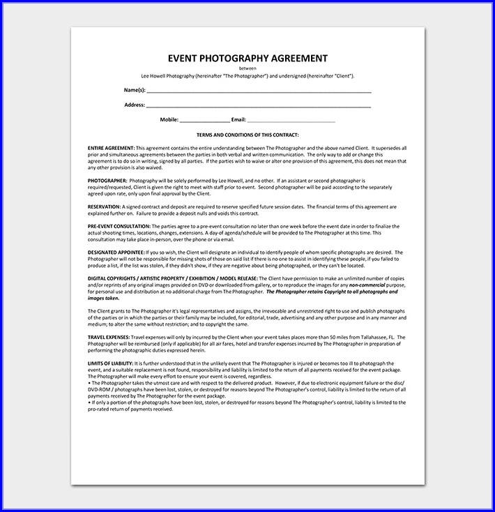 Photography Service Event Photography Contract Template
