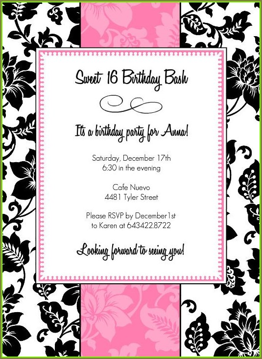 Pink And Black Invitation Template