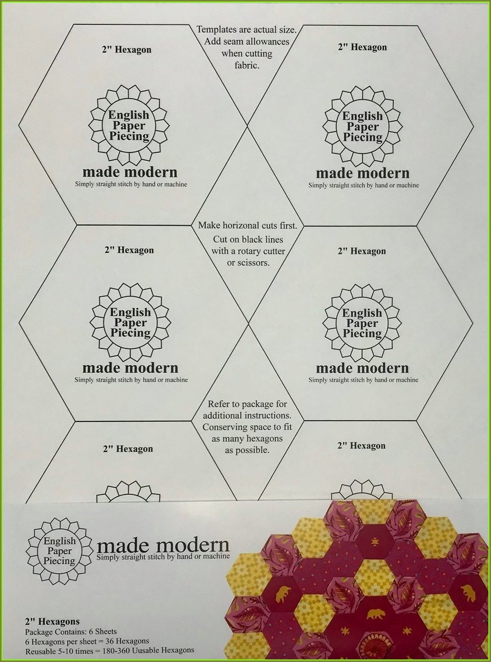 Plastic Hexagon Templates For English Paper Piecing