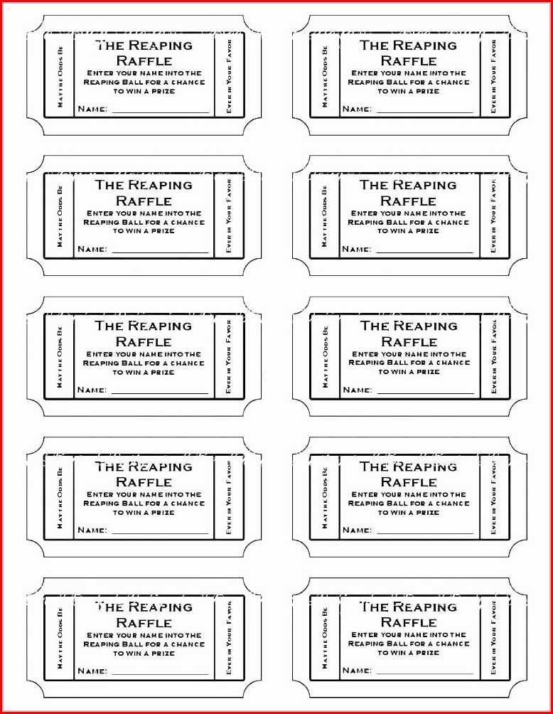 Plate Sale Ticket Template Word