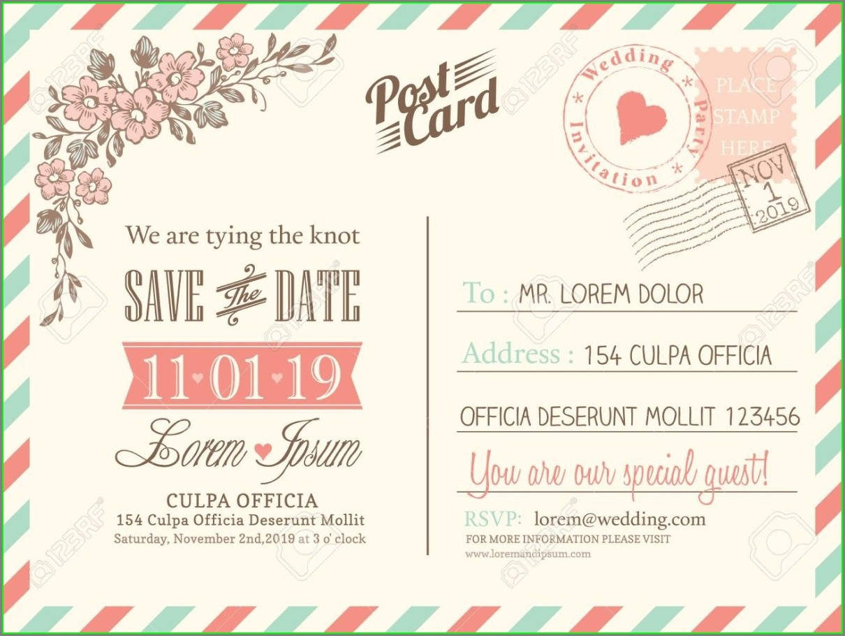 Postcard Wedding Invitation Template