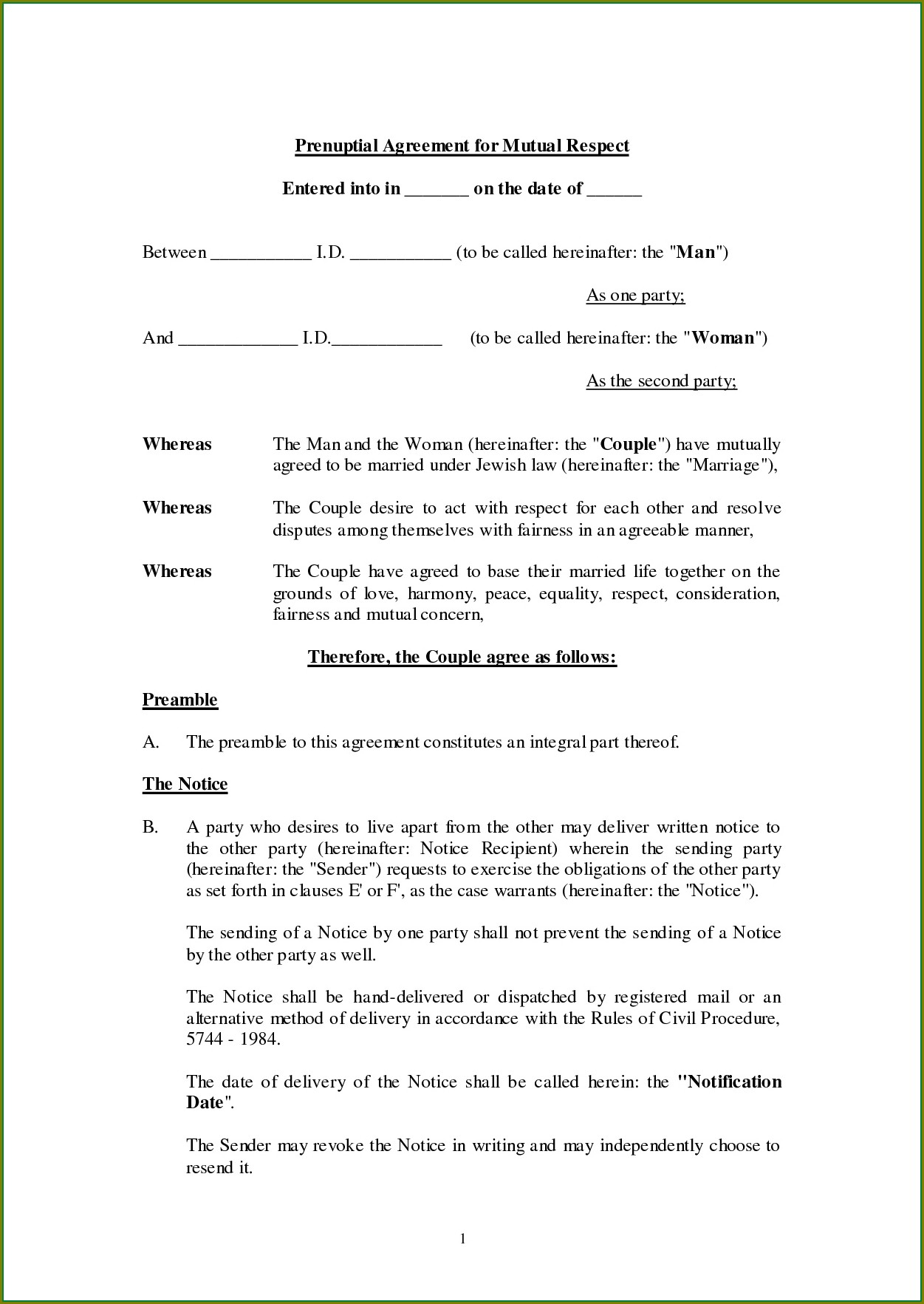 Prenuptial Agreement Template Uk