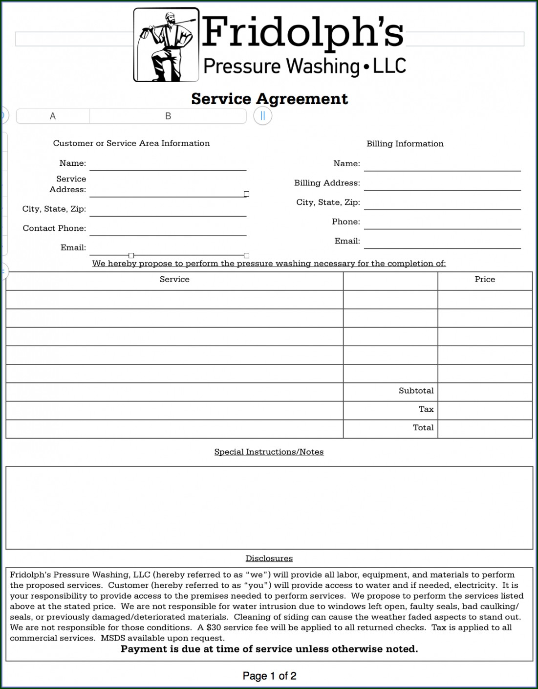 Pressure Washing Contract Template