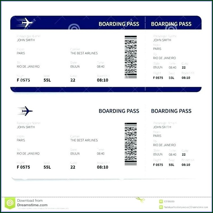 Pretend Plane Ticket Template Free