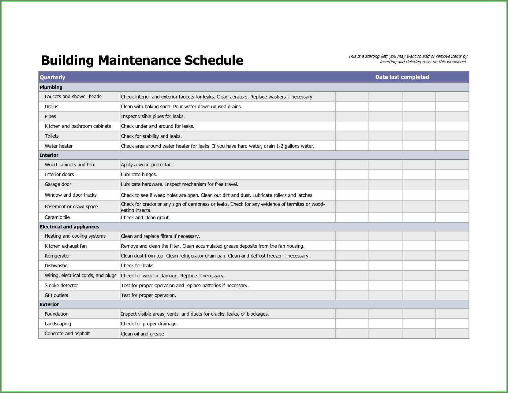 Preventive Maintenance Schedule Excel Template