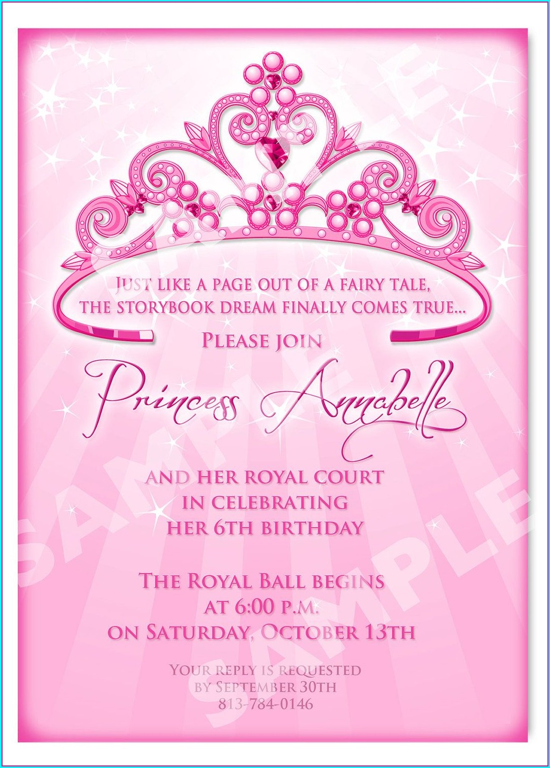 Princess Birthday Party Invitation Template Free