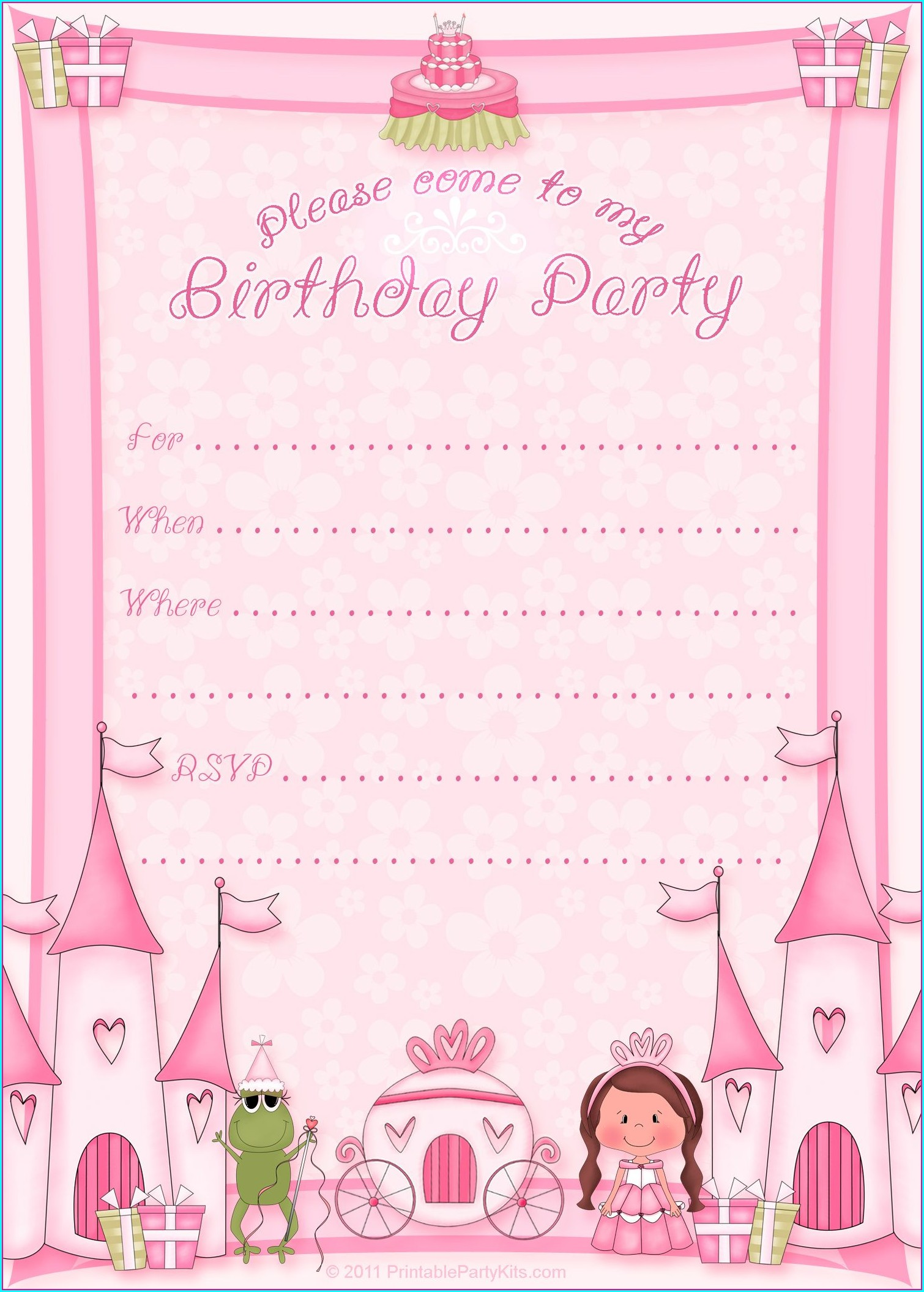 Princess Birthday Party Invitation Template