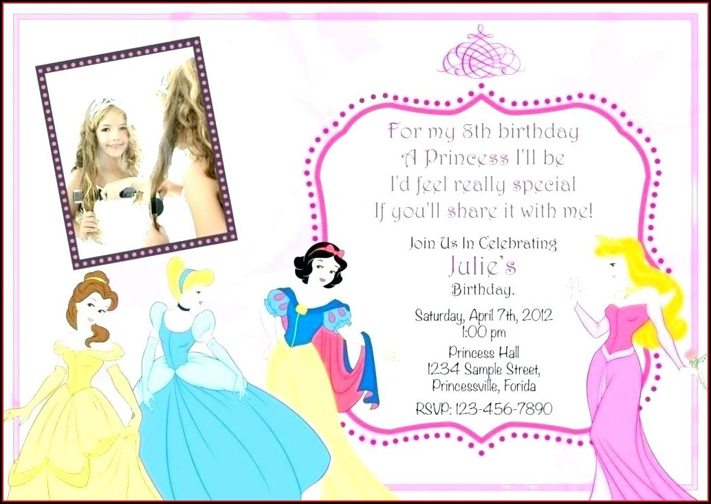 Princess Theme Birthday Invitation Template