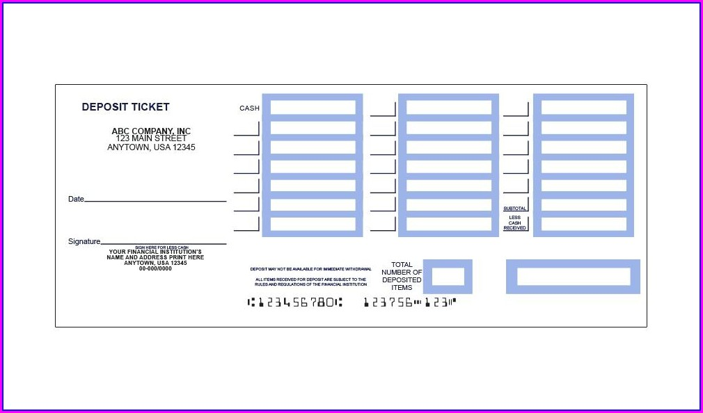 Printable Bank Deposit Slip Template
