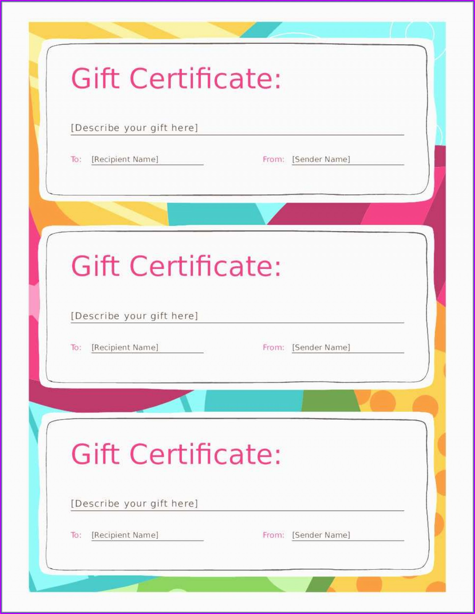 Printable Blank Christmas Gift Certificate Template