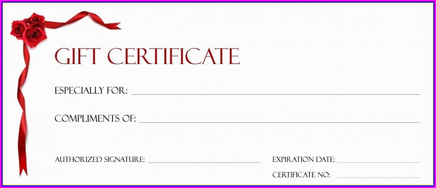 Printable Blank Gift Certificate Template Free