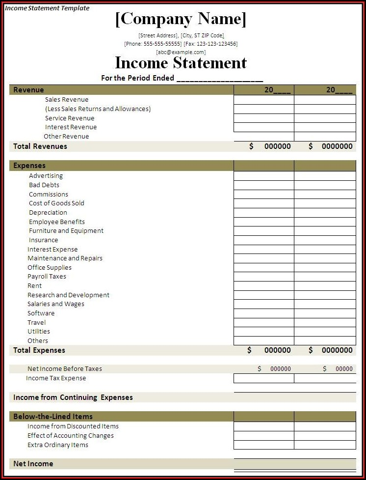 Printable Blank Income Statement Template