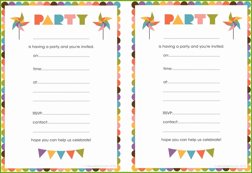 Printable Blank Party Invitation Template