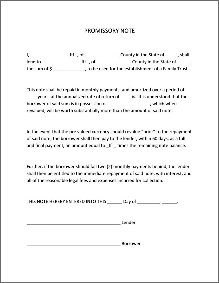 Printable Blank Promissory Note Template