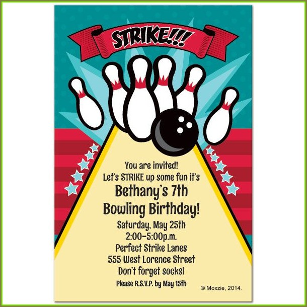 Printable Bowling Party Invitation Template Free