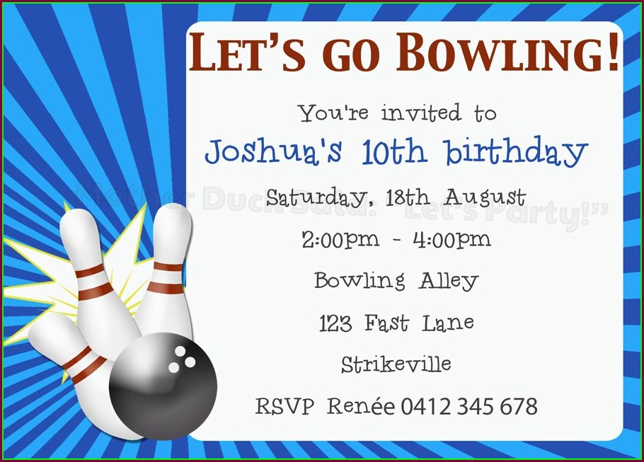 Printable Bowling Party Invitation Template