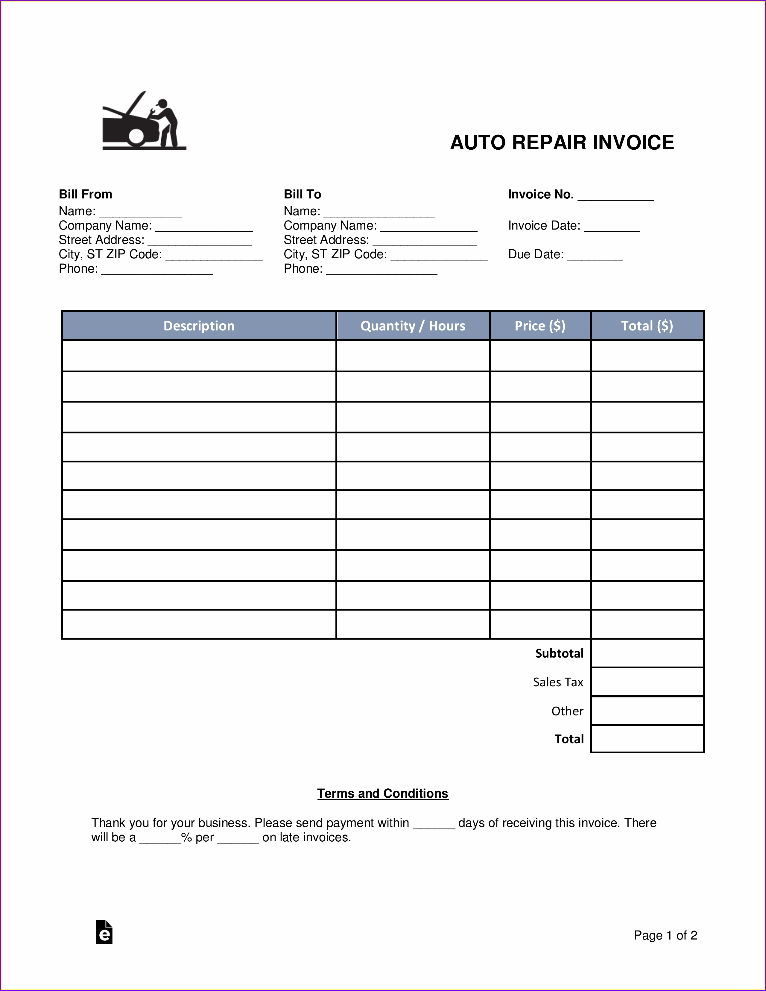 Printable Car Invoice Template