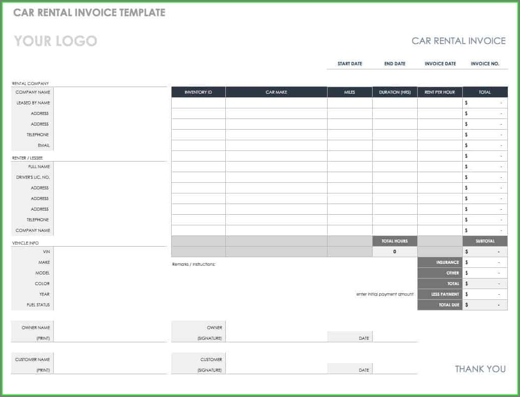 Printable Car Rental Invoice Template Pdf