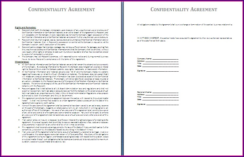 Printable Confidentiality Agreement Template Word