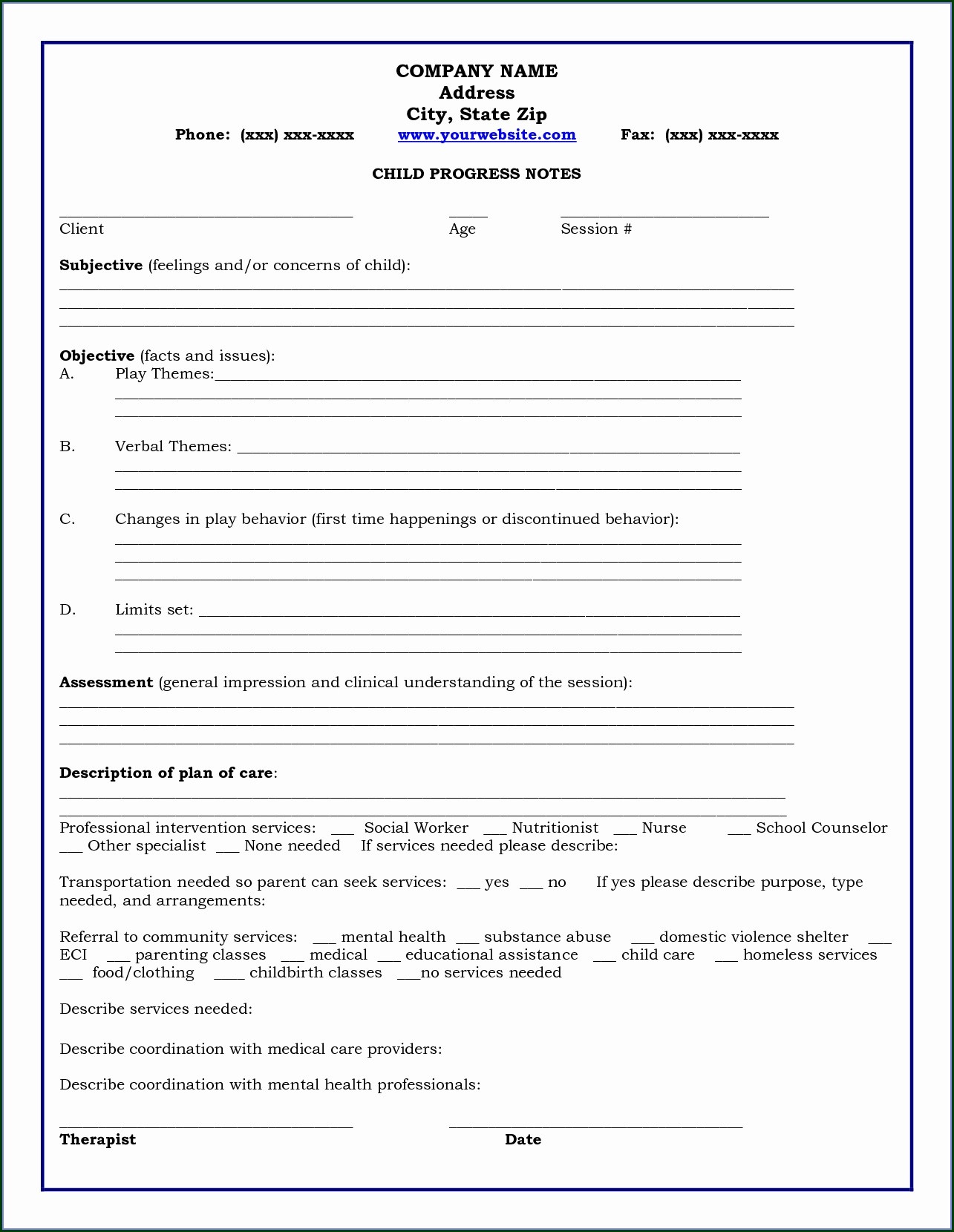 Sample Psychotherapy Progress Notes Template Templates 1