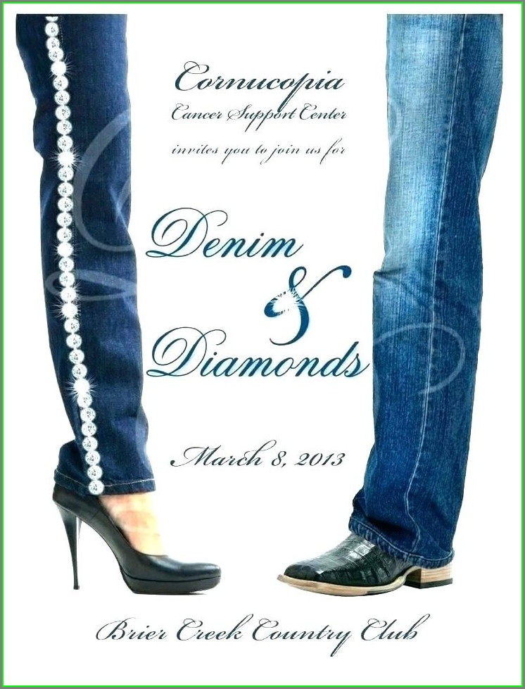 Printable Denim And Diamonds Invitation Templates Free