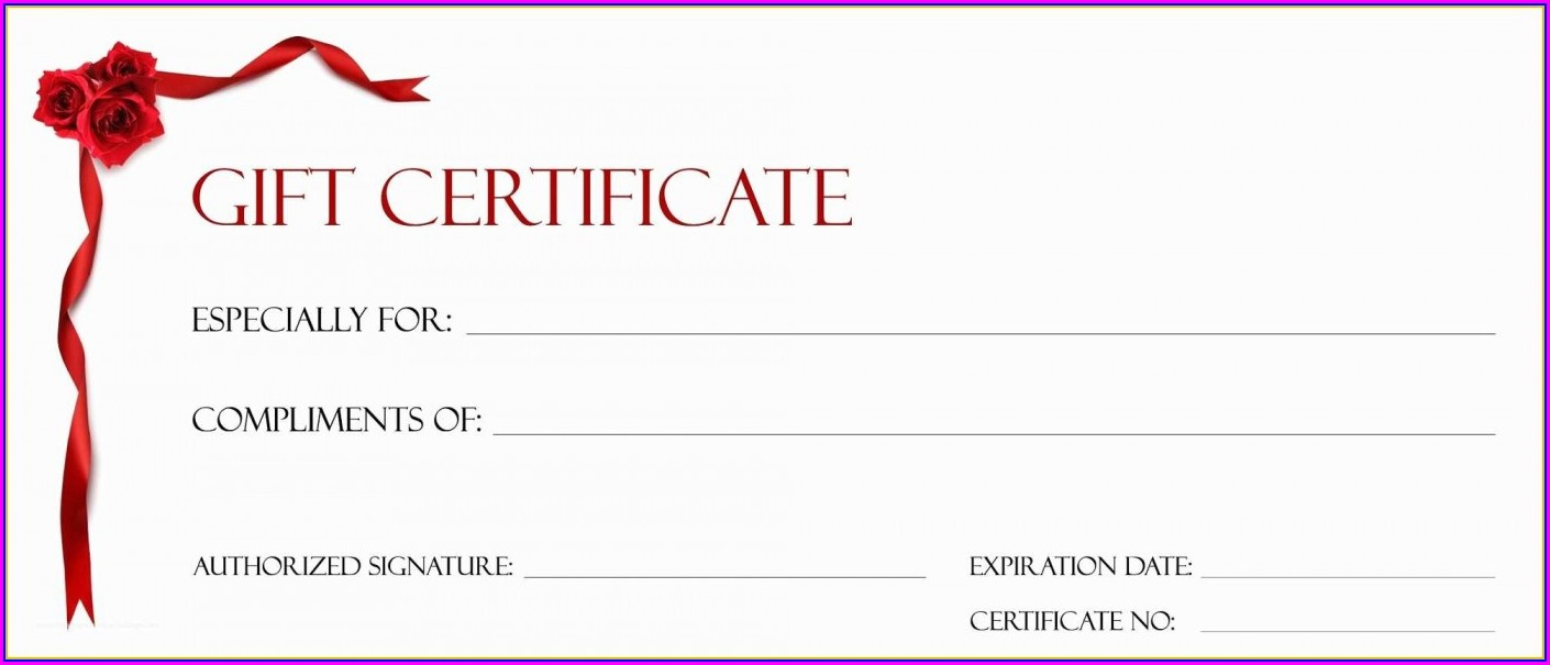 Printable Downloadable Blank Gift Certificate Template