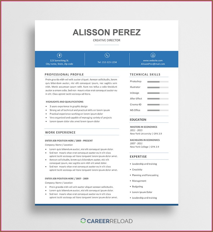 Printable Downloadable Editable Free Resume Templates