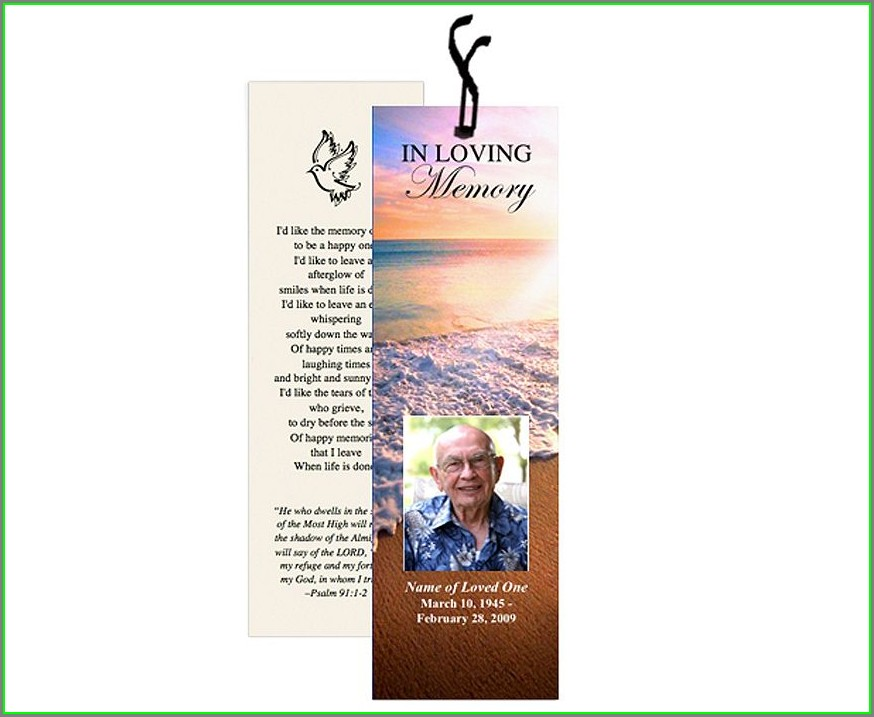 Printable Editable Funeral Bookmarks Template Free