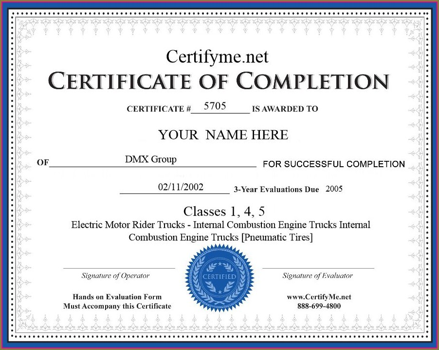 Printable Forklift Certificate Template Pdf