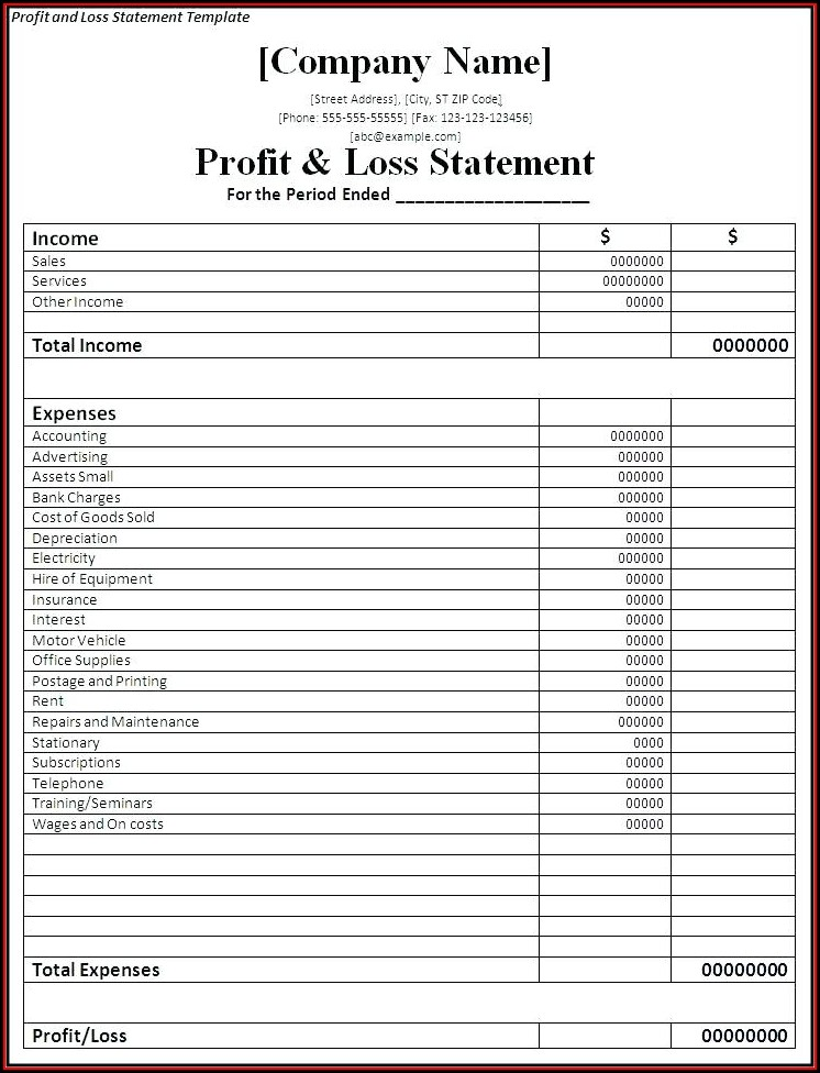 Printable Free Profit And Loss Template For Self Employed