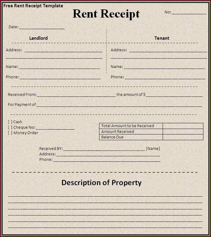 Printable Free Rent Receipt Template Word