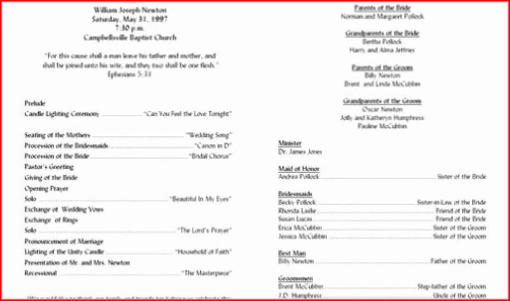 Printable Free Wedding Ceremony Program Template
