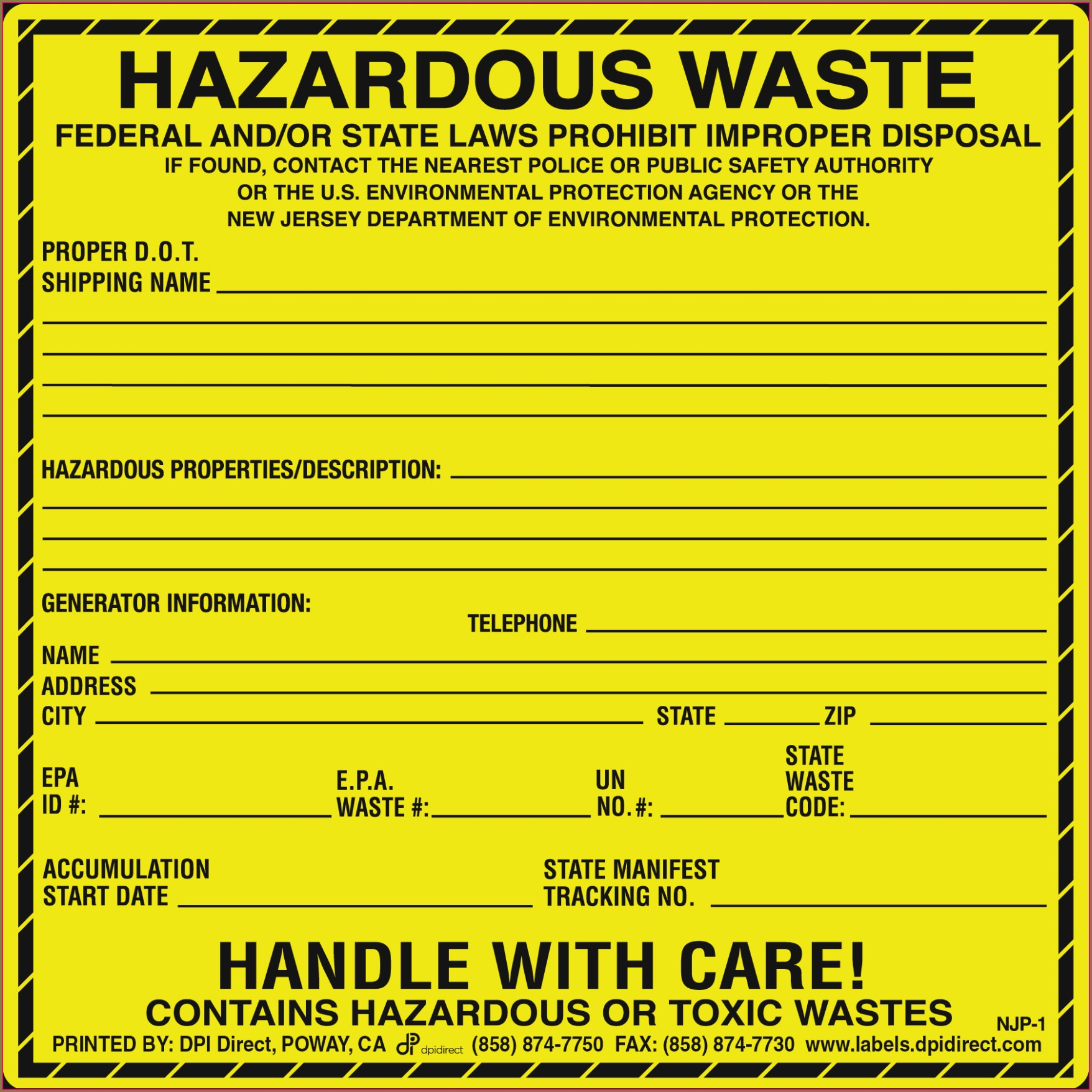 Printable Hazardous Waste Label Template Philippines