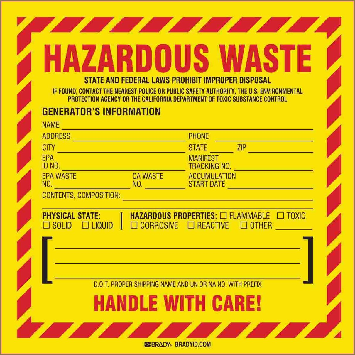 Printable Hazardous Waste Label Template