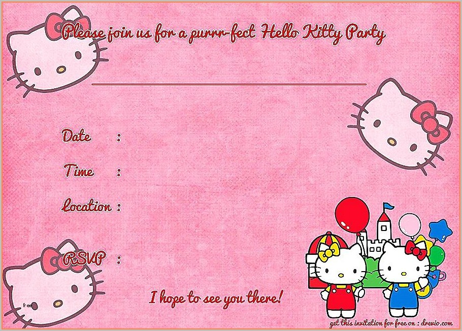 Printable Hello Kitty Invitation Template Blank