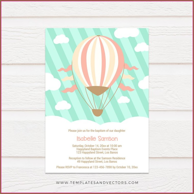 Printable Hot Air Balloon Invitation Template